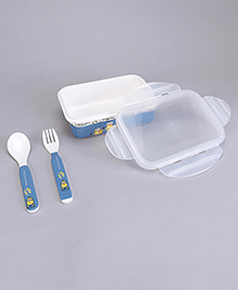 Minions Lunch Box With Fork & Spoon - Blue White