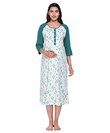 Morph Three Fourth Sleeves Maternity Nursing Nighty Plant Print - White Green