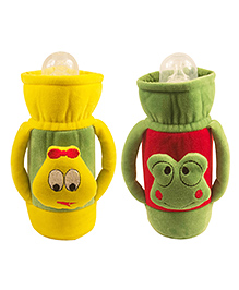 Ole Baby Feeding Bottle Cover With Handles Pack Of 2 Yellow Green - 500 Ml - 2224272