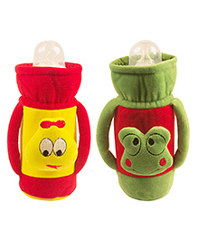 Ole Baby Feeding Bottle Cover With Handles Pack Of 2 Yellow Green - 500 Ml