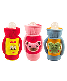 Ole Baby Feeding Bottle Cover With Handle Pack Of 3 Pink Red Blue - 500 Ml