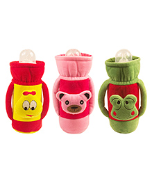 Ole Baby Feeding Bottle Cover With Handle Pack Of 3 Green Red Pink - 500 Ml