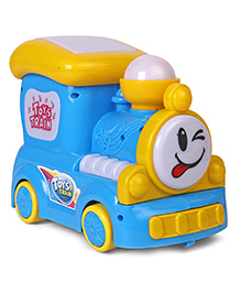 Battery Operated Toy Train With Lights & Music - Blue & Yellow