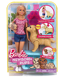 Barbie New Born Pups Doll With Accessories Pink - Height 28 Cm