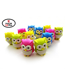 Party Propz Return Gift Pack Of 12 Owl Eraser - Multi Colour