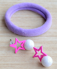 Pretty Ponytails Rubber Band & Star Design Earrings Set - Pink & Purple