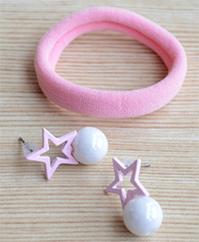 Pretty Ponytails Rubber Band & Star Design Earrings Set - Pink