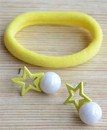 Pretty Ponytails Rubber Band & Star Design Earrings Set - Yellow