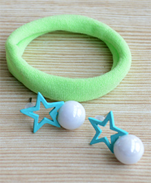 Pretty Ponytails Rubber Band & Star Design Earrings Set - Green & Blue