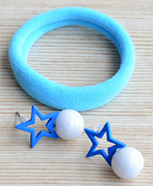 Pretty Ponytails Rubber Band & Star Design Earrings Set - Blue