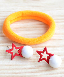 Pretty Ponytails Rubber Band & Star Design Earrings Set - Orange & Red