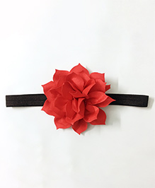 Knotty Ribbons Flower Applique Headband - Red