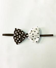 Knotty Ribbons Polka Dot Printed Bow Headband - Black & White
