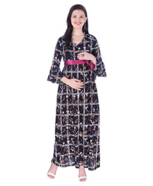 MomToBe Three Fourth Sleeves Checked Dress - Black