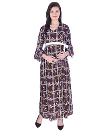 MomToBe Three Fourth Sleeves Checked Dress - Brown