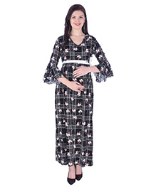 MomToBe Three Fourth Sleeves Checked Dress Flower Print - Black
