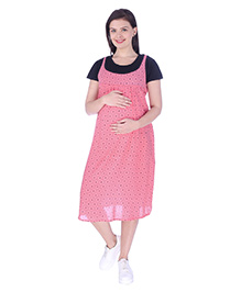 MomToBe Short Sleeves Maternity Dress Dotted Print - Navy Blue & Pink