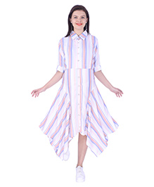 MomToBe Three Fourth Sleeves Maternity Dress - White Pink Purple