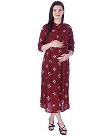 MomToBe Three Fourth Sleeves Maternity Nursing Dress - Red