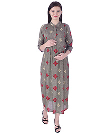 MomToBe Three Fourth Sleeves Maternity Nursing Dress - Grey