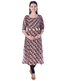 MomToBe Three Fourth Sleeves Maternity Nursing Kurti Tussle Design - Red