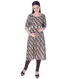 MomToBe Three Fourth Sleeves Maternity Nursing Kurti Tussle Design - Brown