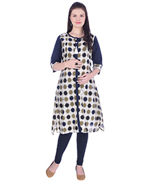 MomToBe Three Fourth Sleeves Maternity Nursing Kurti - Navy Blue