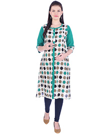 MomToBe Three Fourth Sleeves Maternity Nursing Kurti - Green