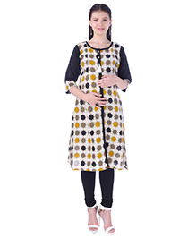 MomToBe Three Fourth Sleeves Maternity Nursing Kurti - Black