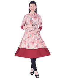 MomToBe Three Fourth Sleeves Maternity Kurti Floral Print - Mahogany Red