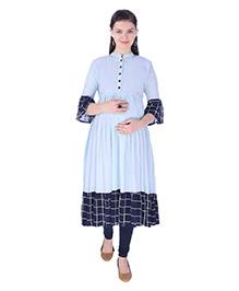 MomToBe Three Fourth Sleeves Maternity Kurti - Sapphire Blue