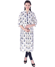 MomToBe Three Fourth Sleeves Printed Maternity Kurti - White