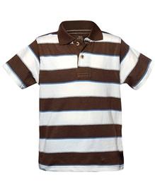 T-Shirt- White & Brown Stripes