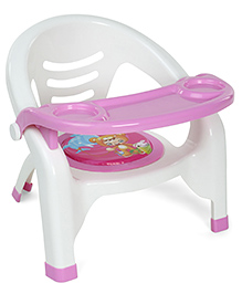 Plastic Chair With Removable Tray - Pink