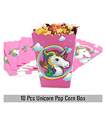 Party Propz Unicorn Pop Corn Box Pack Of 10 - Purple & White