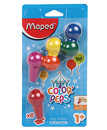 Maped Color Peps Plastic Crayons Multi Colour - Pack Of 6