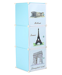 Storage Rack With 3 Compartments Monument Print - Light Blue