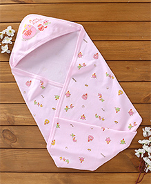 Pink Rabbit Hooded Wrapper Hen Print - Pink