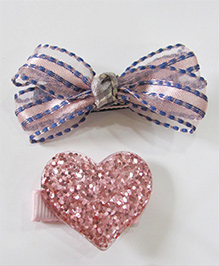 Milonee Combo Of Tissue Bow Clip & Glittery Heart Clip - Pink