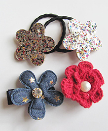 Milonee Set Of Flower Clip & Rubber Band - Blue Red & Gold