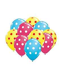 Party Propz Polka Dots Balloon Set Pink Blue Yellow - 25 Pieces