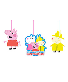Party Propz Peppa Pig Hanging Decoration Multi Colour - Pack Of 3