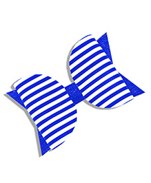 Little Tresses Striped Bow Hair Clip - Blue & White