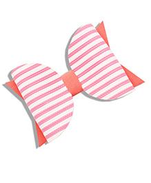 Little Tresses Striped Bow Hair Clip - Peach & White