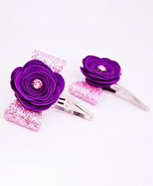 Little Tresses Flower Applique Hair Clip - Purple & Pink