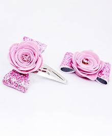 Little Tresses Flower Applique Hair Clip - Baby Pink