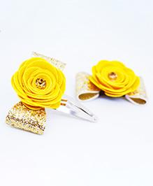 Little Tresses Flower Applique Hair Clip - Yellow