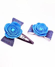 Little Tresses Flower Applique Hair Clip - Blue