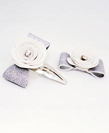 Little Tresses Flower Applique Hair Clip - White