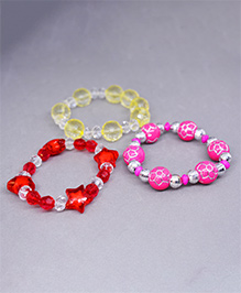 Little Tresses Set Of 3 Beaded Bracelets - Red Pink & Yellow
